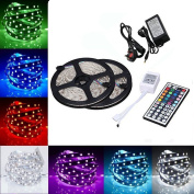 Minger LED Strip Lights Kit, Non-waterproof 2x5m(10m in Total) 5050 RGB 300led Strips Lighting with 12V 5A Power Supply + 44 Key IR Remote Ideal for Home,Kitchen Lighting,Christams Decorations