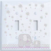 Grey and Purple Dandelion Elephant Light Switch Plates Covers / Double Toggle / Elephant Nursery Decor