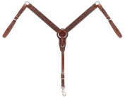 Turquoise Cross Floral Carved 2.5cm - 0.6cm Straight Pony Breast Collar, Chestnut