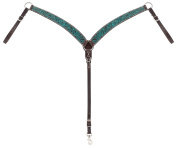 Turquoise Cross Carved Turquoise Flower Contoured Breast Collar, Dark Oil