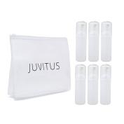White PET BPA Free Plastic Refillable Travel Foamer Pump Bottle - 50ml (6 Pack) + Travel Bag