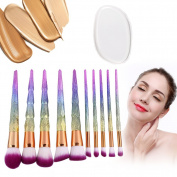Makeup Brush and Silicone Sponge Set,Foundation Eyeshadow Powder Contour Beauty Cosmetic Tool Kits