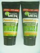 2 X Garnier Men Power Light Intensive Fairness Face Wash Clear Dark Cells & Impurities Powerlight 50g X 2 = 100gm by Garmier