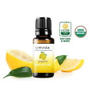 Trevida USDA Organic Lemon Essential Oil   From Fresh Italian Lemon Peels   Bottled in the USA   15 ML   100% Pure   Must Have for Aromatherapy, Organic Cleaning, Scented Candles, DIY & More.
