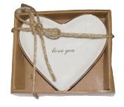 White Ceramic Jewellery Dish Ring Holder - I Love You