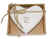 White Ceramic Jewellery Dish Ring Holder - Follow Your Heart
