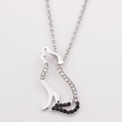 Ingooood Birthday Gifts Wolf Necklace Inspirational Crystal Wolf Pendant Necklace Jewellery for Girls