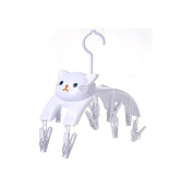 Grocery House Laundry Clothes Pins , Lovely Cat Face Children Baby Socks Underwear Clothes Drying Hanger Rack with 10 clips