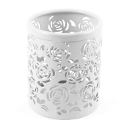 CiaoedPen holder Metal Pencil Pot Hollow Mesh Rose Flower Pattern Cylinder Container Organiser,White