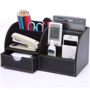 PU Leather Office Desk Organiser,Homeself 7 Storage Compartments Multifunctional Desktop Stationery Storage Box for Business Card/Pen/Pencil/Mobile Phone /Remote Control