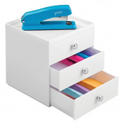 mDesign Office Supplies Organiser for Office to Hold Pens, pencils, Markers, Staplers - 3 Drawer, White