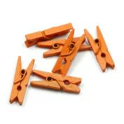 100pcs Multicolor 25mm Mini Wooden Clothes Photo Paper Peg Clothespin Craft Clips,Orange
