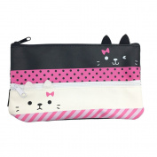 Mziart Cute Kitten Pen Pencil Case Double Cat Zipper Stationery Pouch Cosmetic Bag