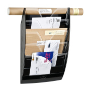 CEP Heavy-Duty 5-Section Wall File, 13.9 x 60cm x 12cm , Black