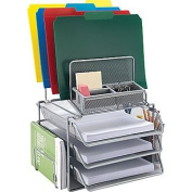 Staples All-in-One Silver Wire Mesh Desk Organiser