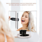 Jerrybox Trifold LED Makeup Mirror with Touch Screen, USB Charging, Battery Powered, Natural LED, 180° Adjustable, Illuminating Folding Cosmetic Mirror