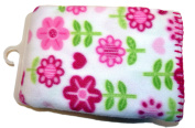 Garanimals 100% Polyester Fleece Soft, Comfy and Cosy 80cm x 100cm Baby Blanket in White with Various Pink Flower Print all Over and Pink Whipstich