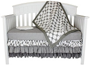 Bacati Polka Dots 4-in-1 Cotton Baby Crib Bedding Set, Grey