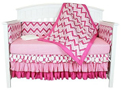 Bacati Zig Zag/Polka Dots 8-in-1 Cotton Baby Crib Bedding Set with Bumper, Pink