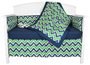 Bacati Chevron and Dots 5 Piece Baby Crib Bedding Set with Bumper Pad, Blue/Green
