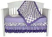 Bacati Zig Zag and Dots 4-in-1 Cotton Baby Crib Bedding, Purple