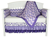Bacati Dots and Chevron 8-in-1 Cotton Baby Bedding with Bumper, Purple
