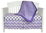 Bacati 4-in-1 Cotton Baby Crib Bedding, Purple