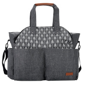 Lekebaby X-Large Nappy Bag for Mom in Grey, Arrows Print