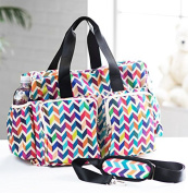 Big capacity colourful wave baby nappy bag Quilted baby stroller bag Waterproof maternity bag