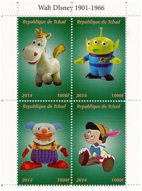 Toy Story and Pinocchio Disney and Pixar miniature stamp sheet with 4 MNH stamps / 2014 / Chad / 1000F