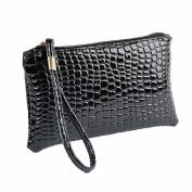 Xjp Women's Wristlets Leather Clutch Handbag Bag Purse Black