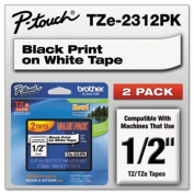 Tze Standard Adhesive Laminated Labelling Tapes, 1/2w, Black On White, 2/pack