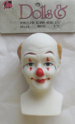 MANGELSEN'S Craft 1 PIECE of PORCELAIN CLOWN Doll HEAD White 7.6cm - 1.9cm w Tuft of SANDY BROWN HAIR (Back of Head) & RED NOSE