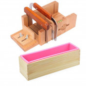 Peicees 2pcs Stainless Steel Cutters + Adjustable Wooden Soap Loaf Cutter Mould + Rectangle Silicone Mould with Wood Box