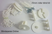 Roller Blind Repair Kit for 25mm roller tube, includes brackets, controls, chain, screws, plugs and Safety fitting