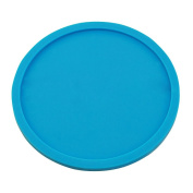 Japace® Round Silicone Coaster Cup Coffee Drinks Mat Heat Resistant and Non-slip with Lip without any Leakage 10 x0.5cm---Blue