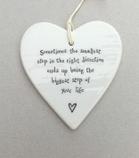 East of India Porcelain Heart - Sometimes the smallest step....