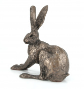 Frith bronze hare crouching by Paul Jenkins by Frith Sculpture - Naturally. Shadows Collection. Hares Sculpture.