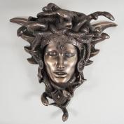 Medusa Guardian Head Wall Plaque Sculpture Cold Cast Bronze Gift Home Decor Ornament Snakes H24cm