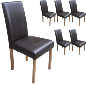 Set of 6 Brown Faux Leather Torino Dining Chairs Brown With Padded Seat & Oak Finish Legs