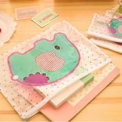 cute kawaii novelty cartoon elephant colour PVC document bag mesh file paper bags holder office school supplies stationery