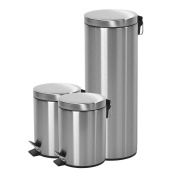 Round Step Trash Can with Lid, Fingerprints Proof for Kitchen,Stainless Steel,1.3+1.3+ 30.3l