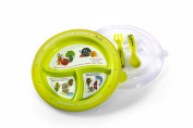 Healthy Nutrition Plates for Kids - Portion Guidelines Imprinted in Spanish with Food Grade Material - BPA Free Plastic - Dishwasher, Fridge and Microwave Safe - Includes a Plate, Lid, Fork and Spoon