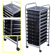 10 Drawer Rolling Storage Cart Scrapbook Paper Office School Organiser Black Ideal For Storing Small Tools In Office, Home, School, Garage