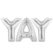 YAY Alphabet Word Balloons - Silver Foil Celebration Letters 100cm