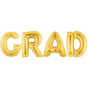 GRAD Alphabet Word Balloons - Gold Foil Celebration Letters 100cm