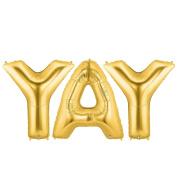 YAY Alphabet Word Balloons - Gold Foil Celebration Letters 100cm