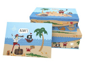 Punch Studio Pirate Treasure Hunt Children's Set of 3 Nesting Flip Top Boxes with Magnetic Closure