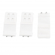 Women White 2 Rows Hook and Eye Tape Stretch Bra Strap Extenders
