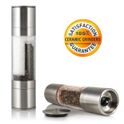 2-in-1 Salt & Pepper Grinder in Stainless Steel with Dual Ended Adjustable Ceramic Mills; Salt and Pepper Mill; Herb Grinder; Spice Grinder; Combined Salt and Pepper Shaker Set! 100% Satisfaction Guaranteed! by Grand Kitchener